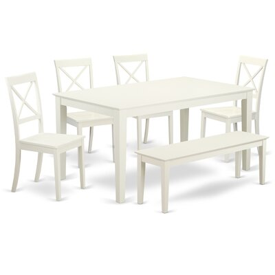 Smyrna 6 Piece Dining Set Charlton Home Color: Linen White