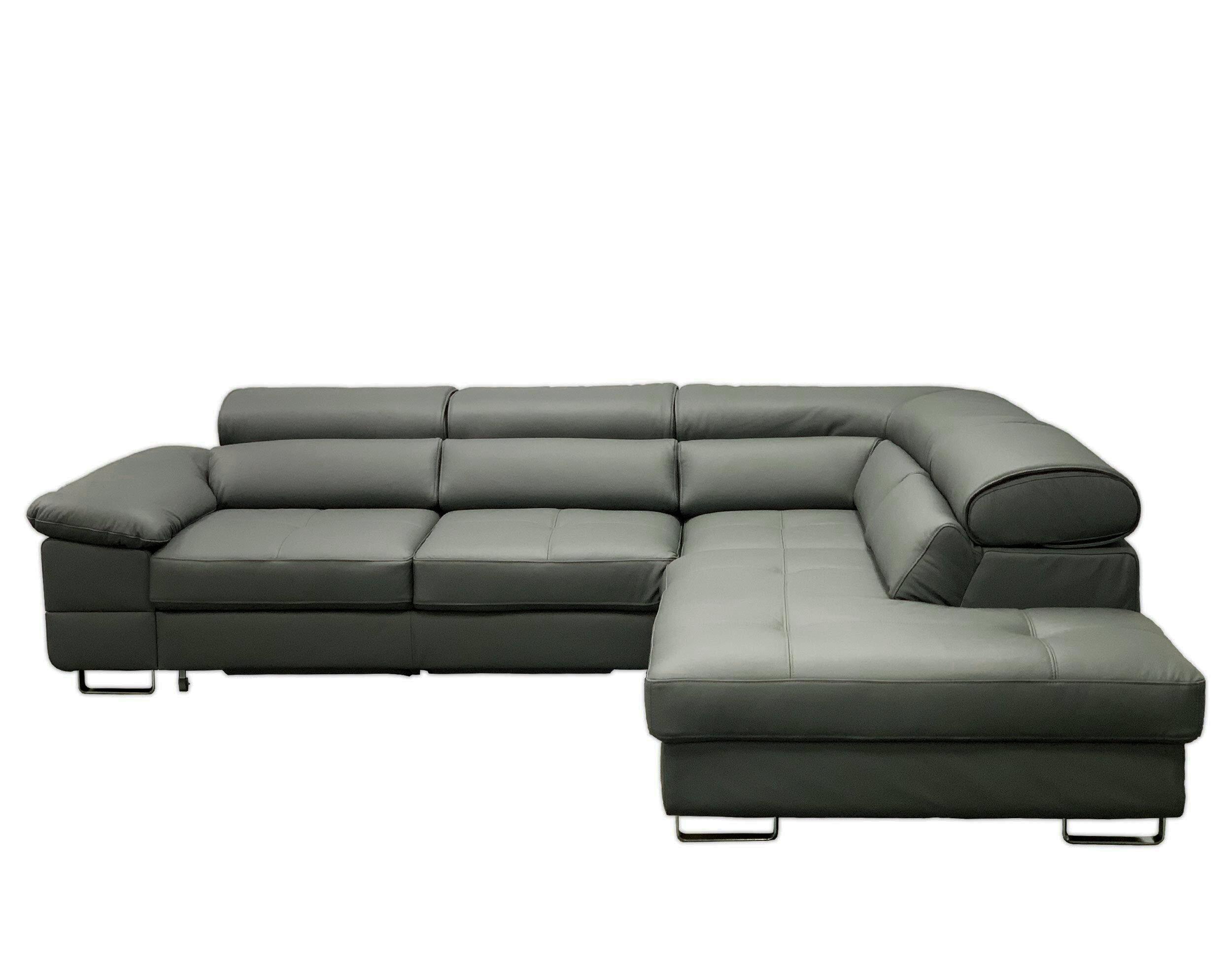 Vvrhomes Costa Leather Sectional Sleeper Sofa