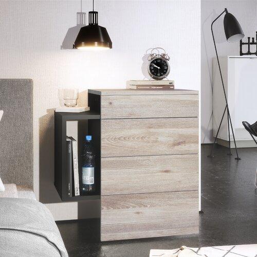 Nachttisch Queens Vladon Farbe (Gestell/Tischplatte): Oak Nordic| Eigenschaften: With LED spotlight | Schlafzimmer > Nachttische | Vladon