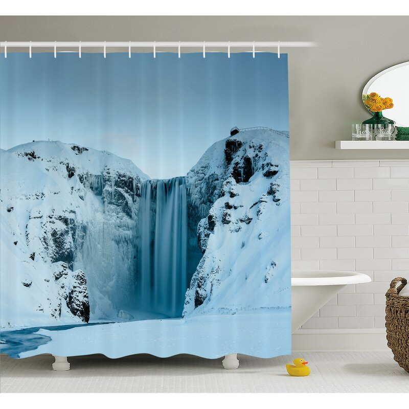 Waterfall Frozen Heavenly Landscape View With Mountains Covered Snow Photo Shower Curtain Set