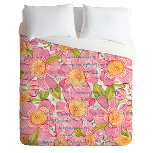 East Urban Home Pinky Blooms Duvet Cover Set