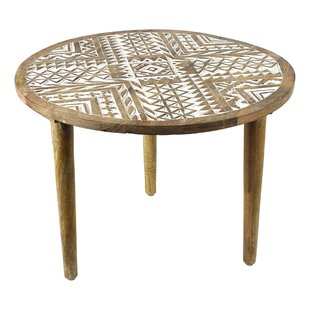 Asya Round Wooden End Table by Bungalow Rose