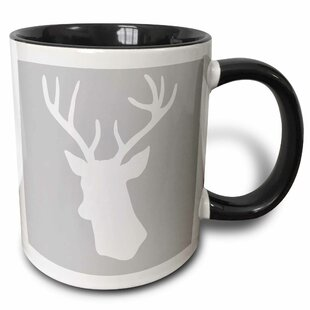 Deer with Antlers Silhouette on Wintery Stag Shadow Stylish Winter Christmas Gifts Coffee Mug