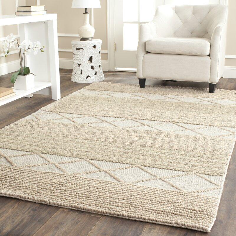 Williston Highlands Beige Tufted Wool Area Rug