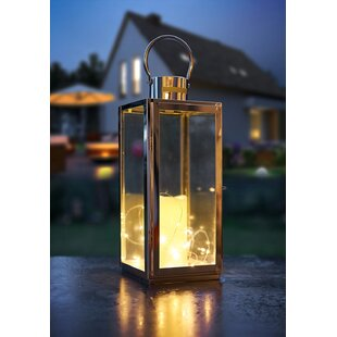 Yepez Silver Battery Powered LED Lantern With Electric Candle Image