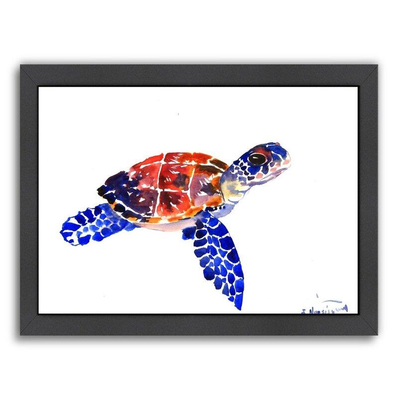 Bay Isle Home Sea Turtle Babe Framed Painting Print Wayfair