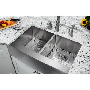 32 875 L X 20 75 W Farmhouse A Kitchen Sink With Grid Set And Drain Emblies