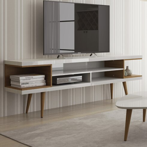 Lemington 70 47 Tv Stand With Splayed Wooden Legs And 4 Shelves