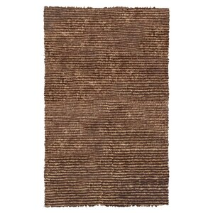 Hand-Hooked Brown Area Rug