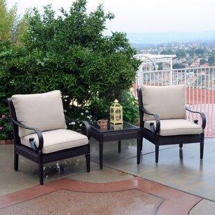 Roma 3 Piece Sunbrella Set with Cushions by Meadow Decor