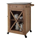 Buena Vista Wooden Kitchen Cart with Granite Top by Gracie Oaks