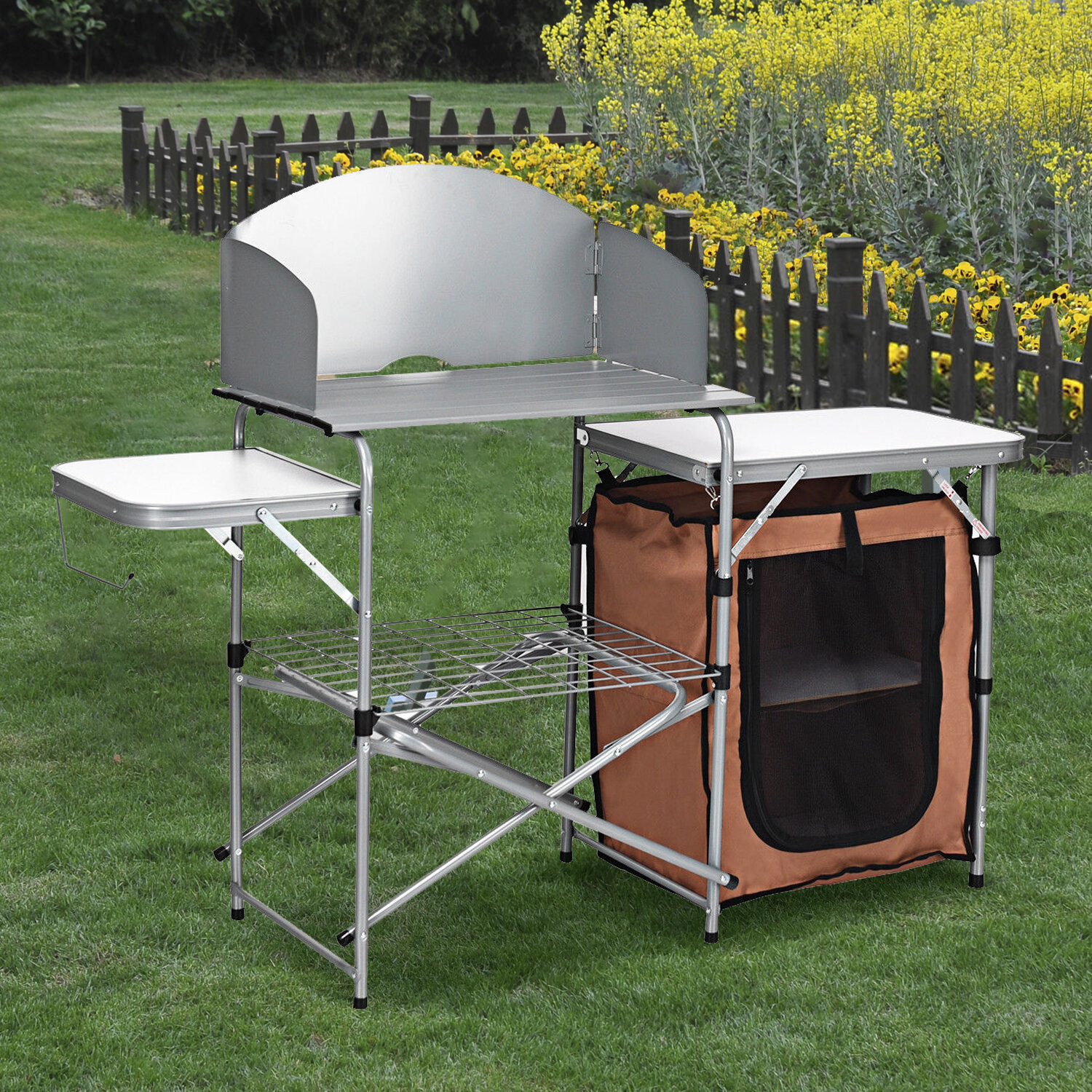 Arlmont Co Lawson Folding Camping Table With Windscreen Bag Wayfair