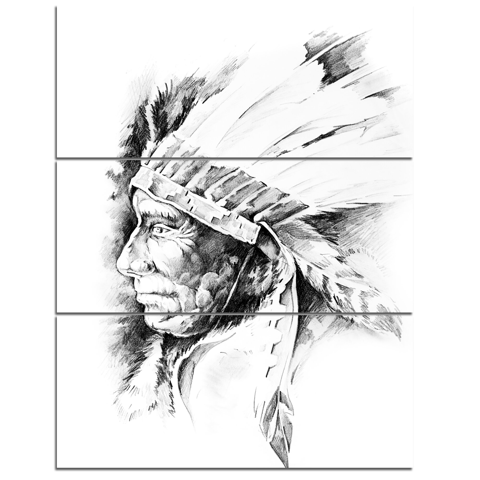 American Indian Head Tattoo Black and White - 3 Piece Wall Art on Wrapped  Canvas Set
