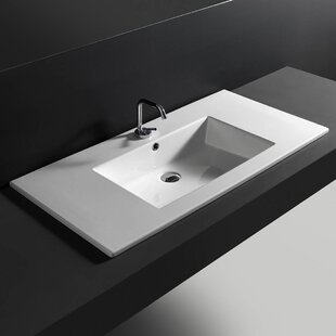 Price Check Ceramic Rectangular Drop-In Bathroom Sink with Overflow ByWS Bath Collections