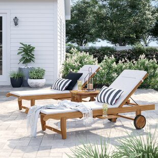 Brighton 3 Piece Teak Chaise Lounge Set with Cushion