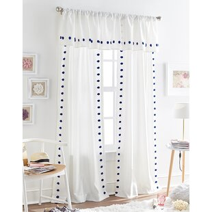 Sasso Tufted Polka Dot Sheer Rod Pocket Single Curtain Panel by Harriet Bee