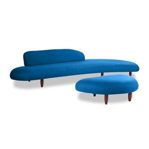 Brayden Studio Potvin Mid Century Modern Sofa and Ottoman Set
