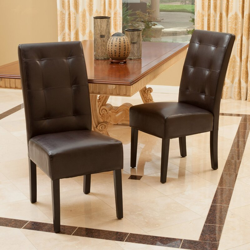 Winston Porter Schuster Tufted Leather Upholstered Stacking Side Chair in Brown (Set of 2)