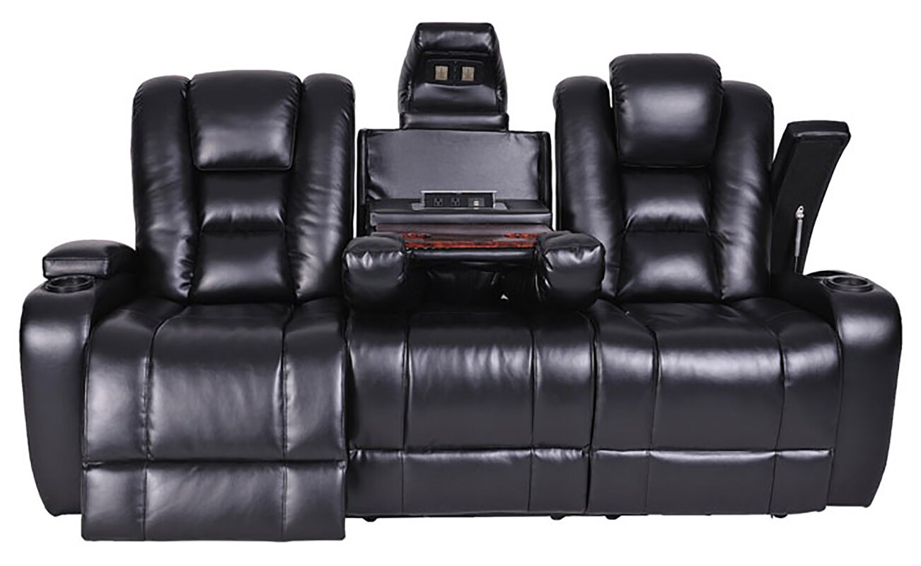 black leather electric recliner sofa new black leather