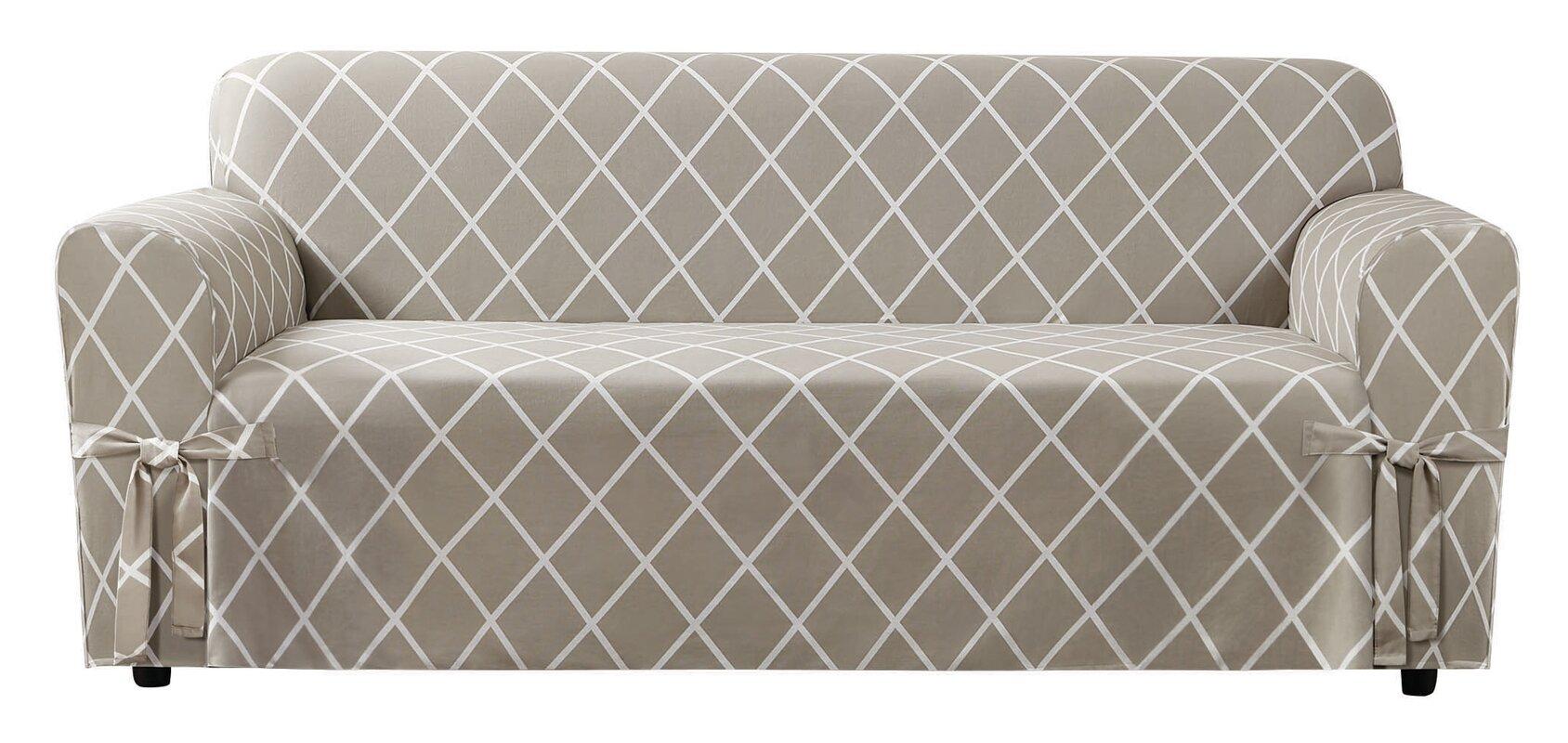 Lattice Box Cushion Sofa Slipcover