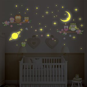 Owl Tree, Moon and Stars Wall Sticker