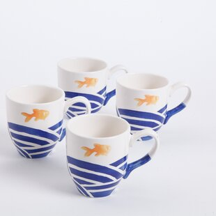 Coastal Gold Fish Mug (Set of 4)