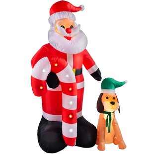 Pre-Lit Flashing Santa With Candy Cane & Dog Inflatable Image