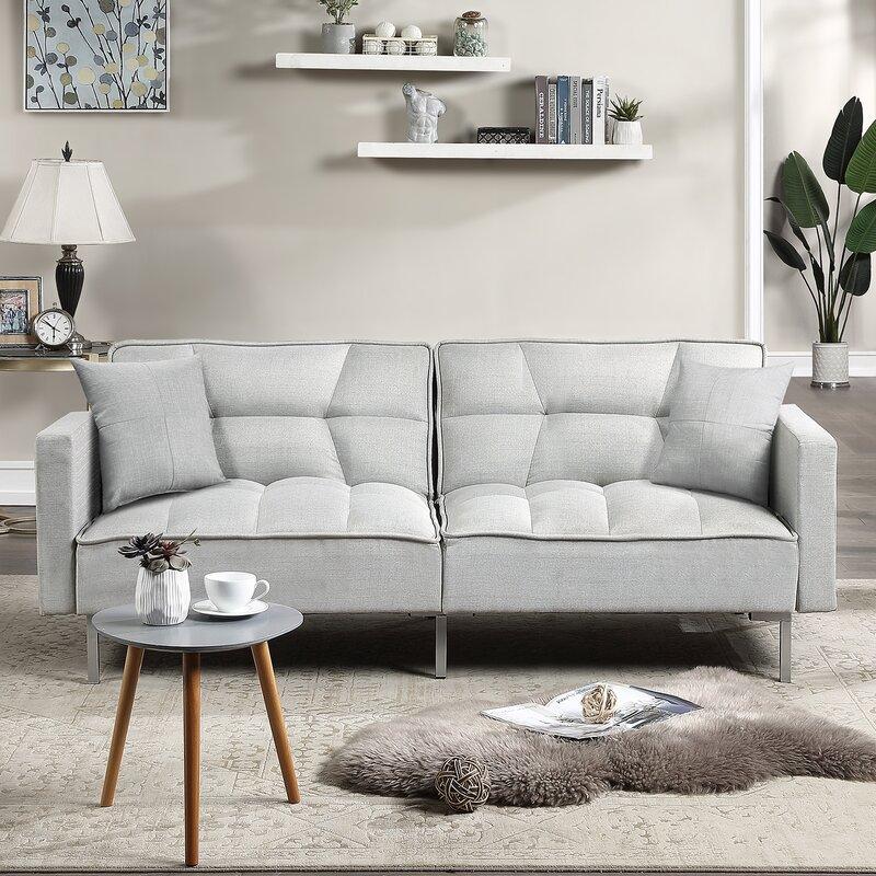 Latitude Run® 78 Inch Fabric Sofa Sleeper Futon Bed 8 Inch ...