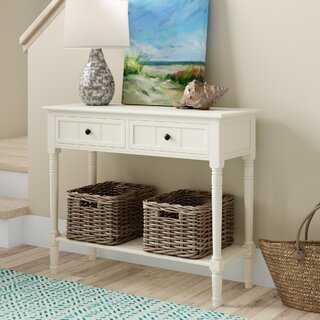 """Manning 35.5"""" Solid Wood Console Table by Beachcrest Home SKU:AB815774 Shop"""