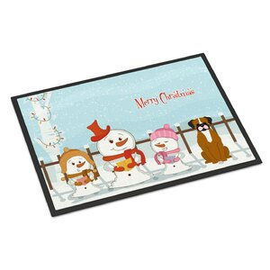 Merry Christmas Carolers Flashy Boxer Doormat