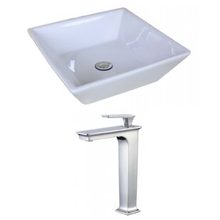 Great Price Ceramic Square Vessel Bathroom Sink with Faucet and Overflow ByAmerican Imaginations