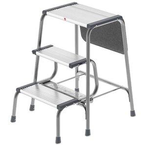 3 Step Aluminum Folding Step Stool With 330 Lb. Load Capacity