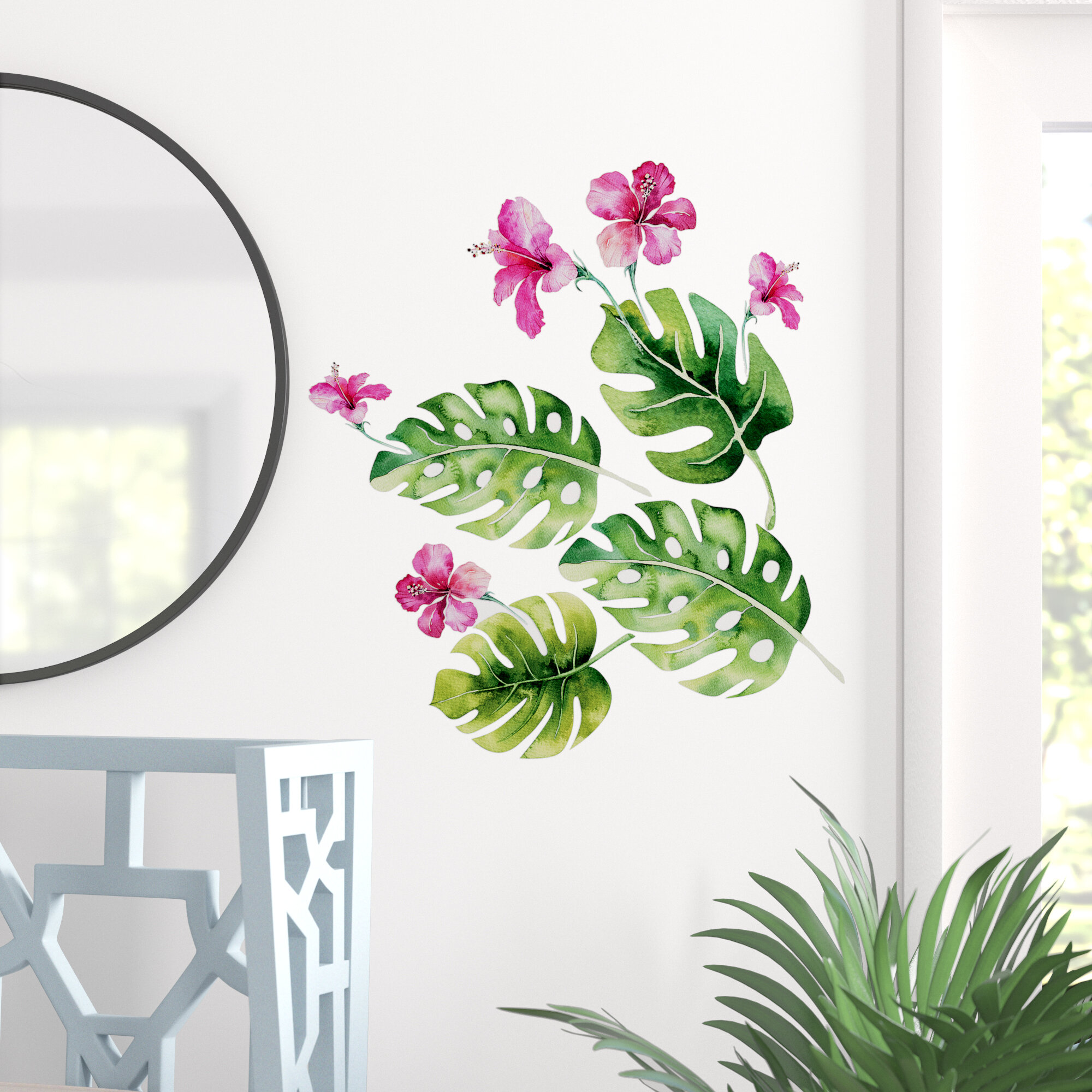 6 Sheets Removable Green Palm Leaves Tropical Wall Decal Sticker Room Decor Soft