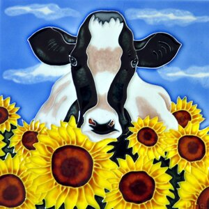 Cow with Sunflowers Tile Wall Decor
