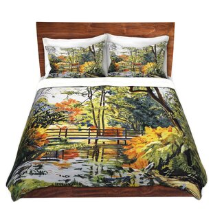 Winston Porter Toccoa David Lloyd Glover Autumn Water Bridge Microfiber Duvet Covers