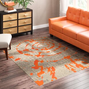 Deasia Light Gray/Orange Area Rug by World Menagerie