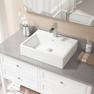 Vitreous China Rectangular Vessel Bathroom Sink with Faucet and Overflow ByMR Direct