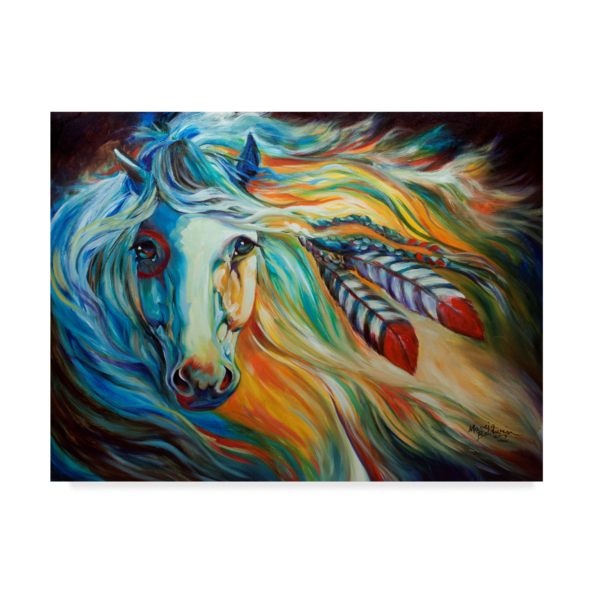 Trademark Art Breaking Dawn Indian War Horse Acrylic Painting Print On Wrapped Canvas Reviews