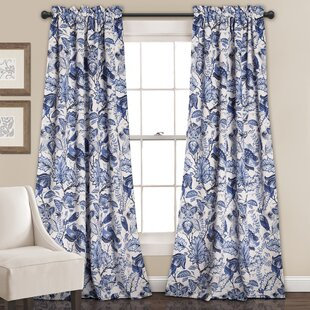 MoretinMarsh Floral/Flower Room Darkening Thermal Rod Pocket Curtain Panels (Set of 2) by Three Posts