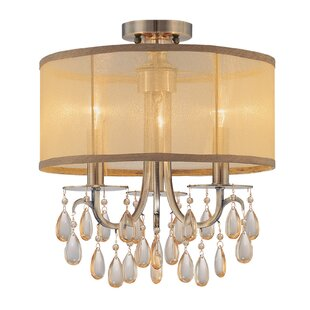 Willa Arlo Interiors Aayush 3-Light Antique Brass Semi Flush Mount