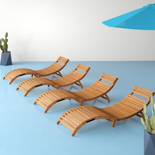 Nastya Folding Curved Wooden Reclining Sun Lounger By Hashtag Home