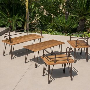 Hansell Outdoor Industrial 4 Piece Deep Seating Group with Cushion