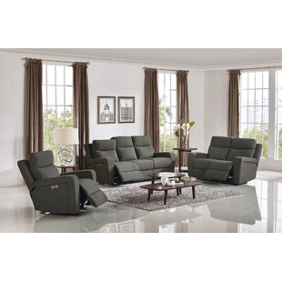 Latitude Run Masuda Shaw Reclining Modern Fabric 3 Piece Living