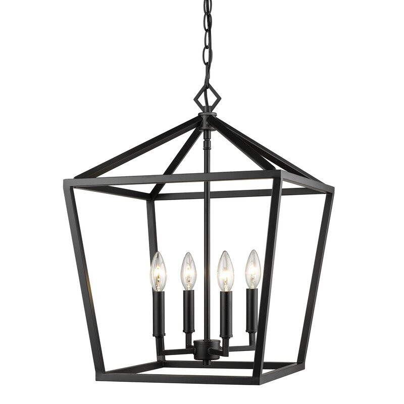Clean and simple lines on this oversized hanging lantern pendant for your dining area - Poisson 4-Light Lantern Chandelier. Come discover more French Farmhouse Decor inspired by Fixer Upper and click here to Get the Look of The Club House Kitchen & Sun Room. #fixerupper #joannagaines #kitchendecor #frenchfarmhouse