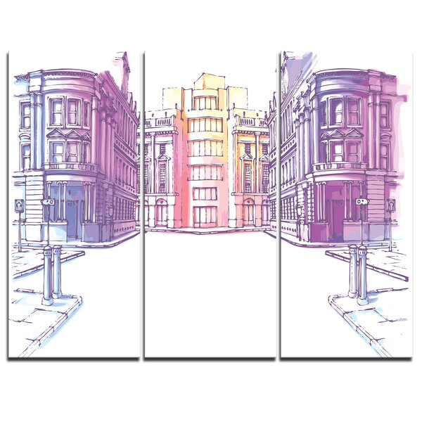 Designart Old City Street 3 Piece Graphic Art On Wrapped Canvas Set Wayfair
