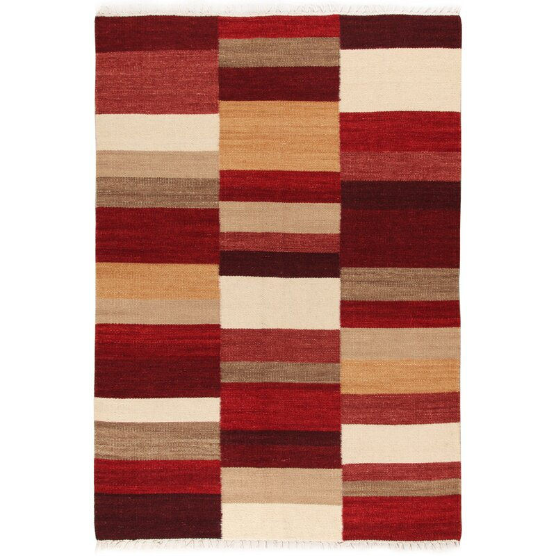 Flat Woven Wool Cotton Red Rug