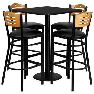Red Barrel Studio Joyeta 5 Piece Pub Table Set in Black