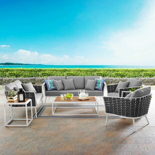 Grandfield Stance Outdoor 5 Piece Rattan Sofa Seating Group Set