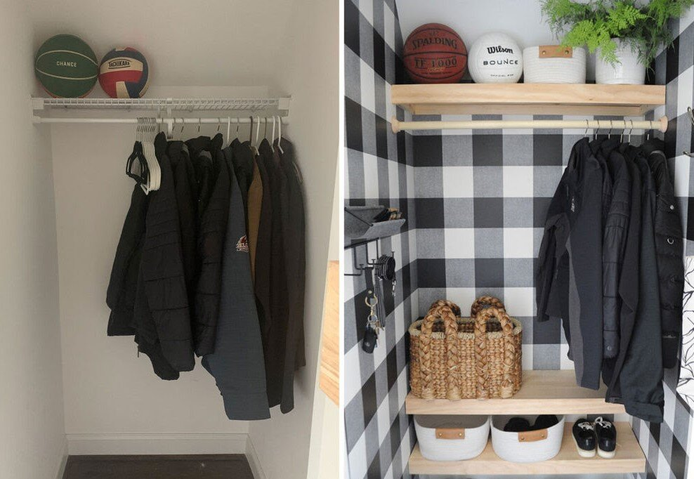 Before & after picture of closet