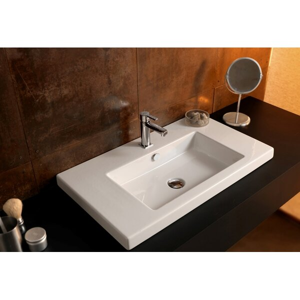 Ceramica Tecla Cangas Ceramic Rectangular Drop-In Bathroom Sink with ...